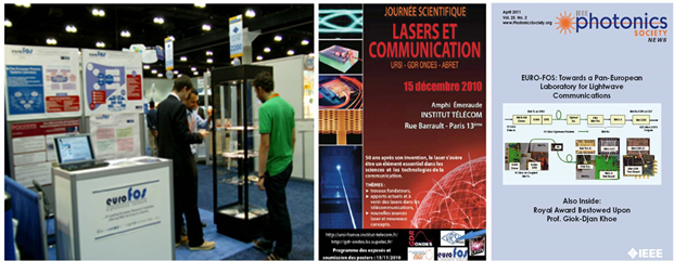 Figure 6: Left: EURO-FOS booth at OFC 2011 exhibition. Middle: poster of the workshop organized by Inst. TELECOM with the support of EURO-FOS. Right: Presentation of EURO-FOS in the IEEE Photonics Society News (April 2011 issue).