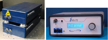 Figure 12: The three modules of the packaged MultiWave system. Left: ERGO laser (top of stack) and PCF/Fabry-Perot module (bottom of stack). Right: The commercially available EDFA that was used in the packaged MultiWave system.