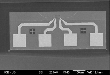 Figure 1-9: SEM micrograph of the MZI switch after the gold level fabrication.