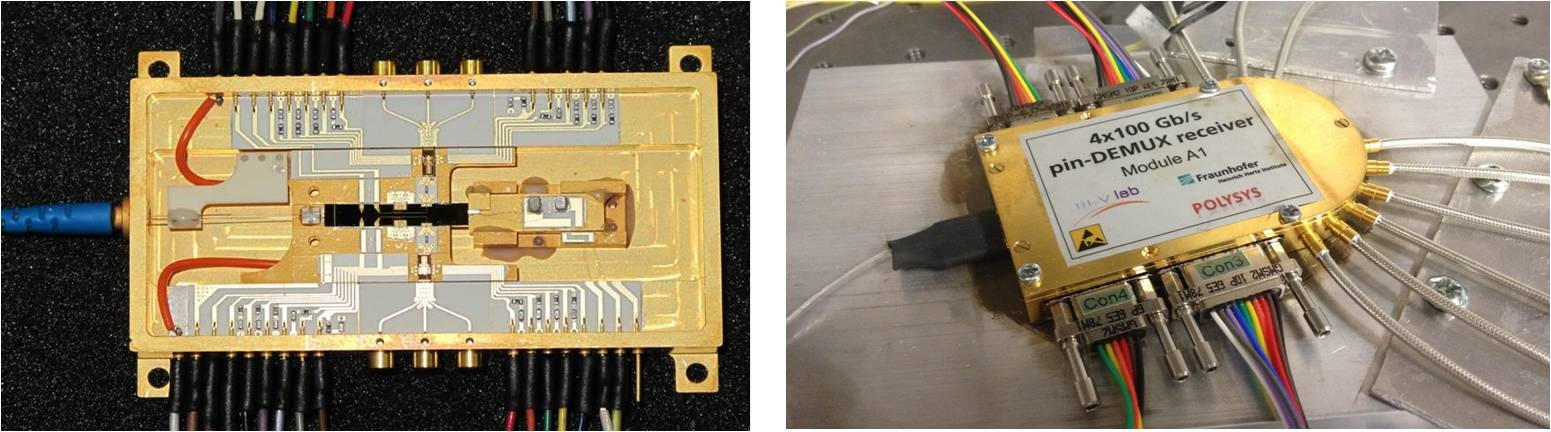Figure 9: (Left) Photograph of the 2x100 Gb/s transmitter that was successfully assembled and packaged by TEO in P3 of POLYSYS. Inside the package the components that have been integrated include a DFB laser, an EO polymer chip with an MMI coupler and two MZMs, and two MUX-DRV circuits. (Right) Photograph of the 4x100G pin-DEMUX receiver that was successfully assembled and packaged by HHI in P3 of POLYSYS. Inside the package the components that have been integrated include a quad array of un-terminated pin-photodiodes and two twin-DEMUX circuits.