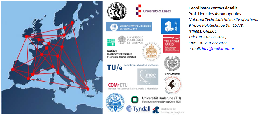 Consortium: Institute of Communication and Computer Systems/National Technical University of Athens (ICCS/NTUA), Heinrich-Hertz-Institut (HHI), University of Essex (UEssex), Universitat Politècnica de Catalunya (UPC), Institut TELECOM (Inst. TELECOM), ACREO AB (ACREO), Technical University of Eindhoven (TU/e), Athens Information Technology (AIT), Chalmers University of Technology (Chalmers), Karlsruhe Institute of Technology (KIT), Politecnico di Torino (POLITO), University College Cork (TNI), Scuola Superiore Sant'Anna (SSSUP), Universidad Polytecnica de Valencia (UPVLC), Interuniversity Microelectronics Centre (IMEC), Instituto de Telecomunicaões (IT), Technical University of Denmark (DTU)