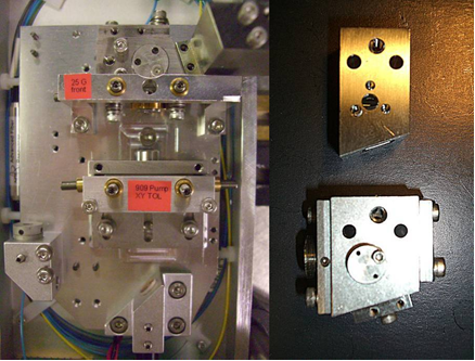 Figure 4: Picture of the 25 GHz ERGO laser head (left) and the PGL block (right, top; in comparison to the 10 GHz PGL in the bottom)