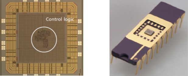 Figure 1-5: Photography of control IC (Left), Packaged control IC for testing (Right)