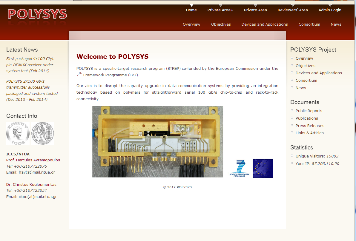 Figure 12. The home page of POLYSYS' public website.